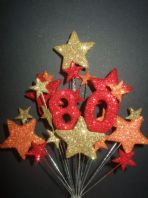 Number age 80th birthday cake topper decoration in shades of fire - free postage